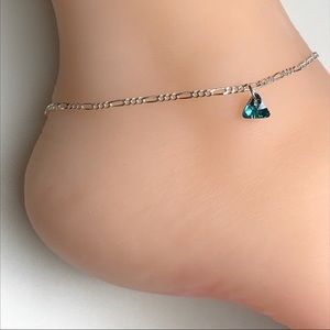 Jewelry - Sterling Silver Dainty Crystal Anklet